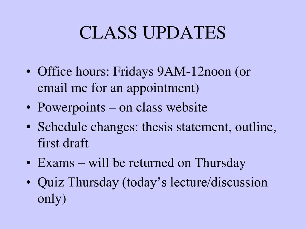 class updates l.
