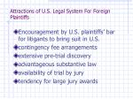 attractions of u s legal system for foreign plaintiffs