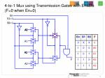 4 to 1 mux using transmission gates with enable f 0 when en 0