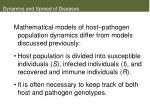 dynamics and spread of diseases38