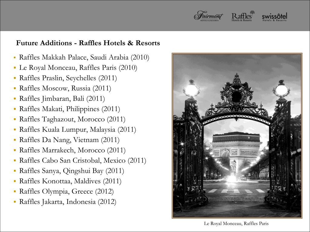 Future Additions - Raffles Hotels & Resorts