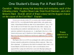 one student s essay for a past exam