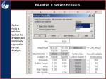 example 1 solver results