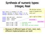 synthesis of numeric types integer real