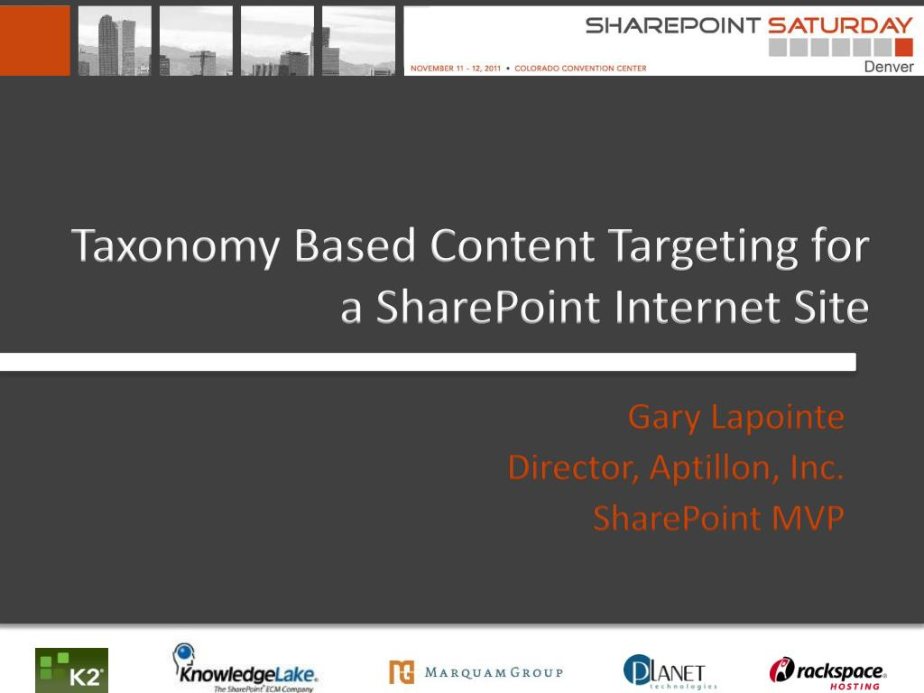 taxonomy based content targeting for a sharepoint internet site l.