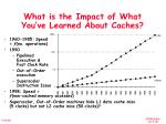 what is the impact of what you ve learned about caches