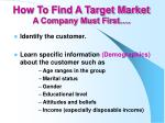 how to find a target market a company must first