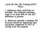 local on the job training ojt policy6