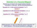 direction of a classical magnet
