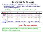 encrypting the message