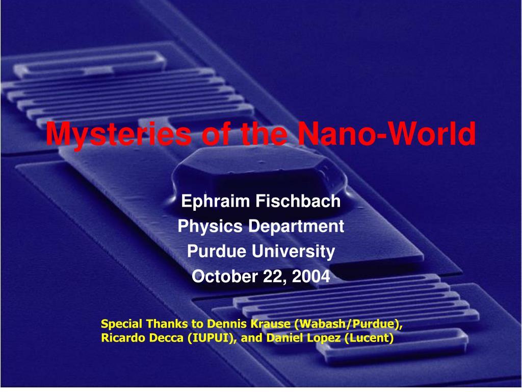mysteries of the nano world l.