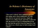 in webster s dictionary of synonyms