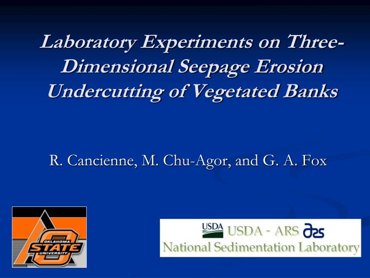 laboratory experiments on three dimensional seepage erosion undercutting of vegetated banks n.