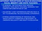 different perceptions of race in education racial minority and white teachers1
