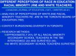 different perceptions of race in education racial minority rm and white teachers