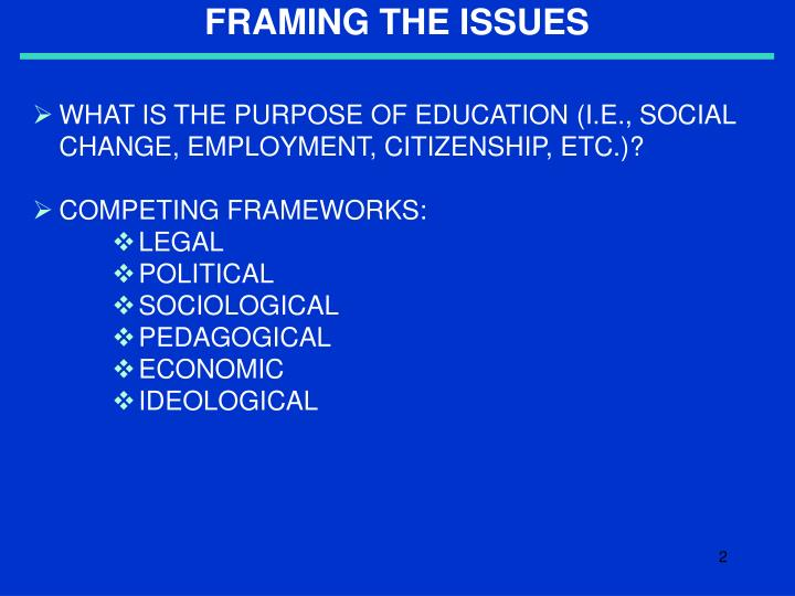 framing the issues n.