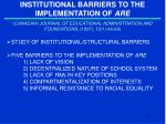 institutional barriers to the implementation of are