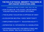 the role of racial minority teachers in anti racist education are