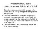 problem how does consciousness fit into all of this