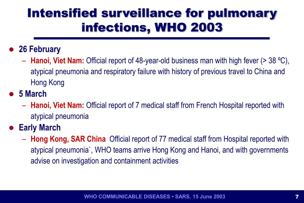Intensified surveillance for pulmonary infections, WHO 2003
