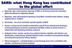 sars what hong kong has contributed to the global effort