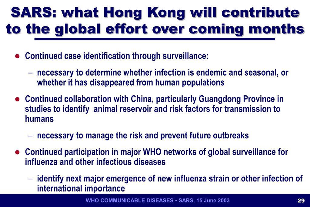 SARS: what Hong Kong will contribute to the global effort over coming months