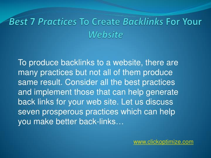 Best 7 practices to create backlinks for your website