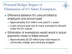 potential budget impact of elimination of 6 salary exemption