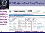 aor so view check errors warnings