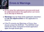 errors warnings