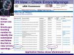 pi view check errors warnings