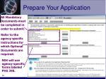 prepare your application16