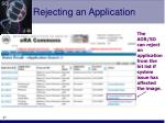 rejecting an application