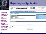 rejecting an application48