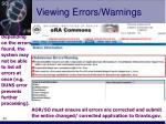 viewing errors warnings