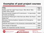 examples of past project courses