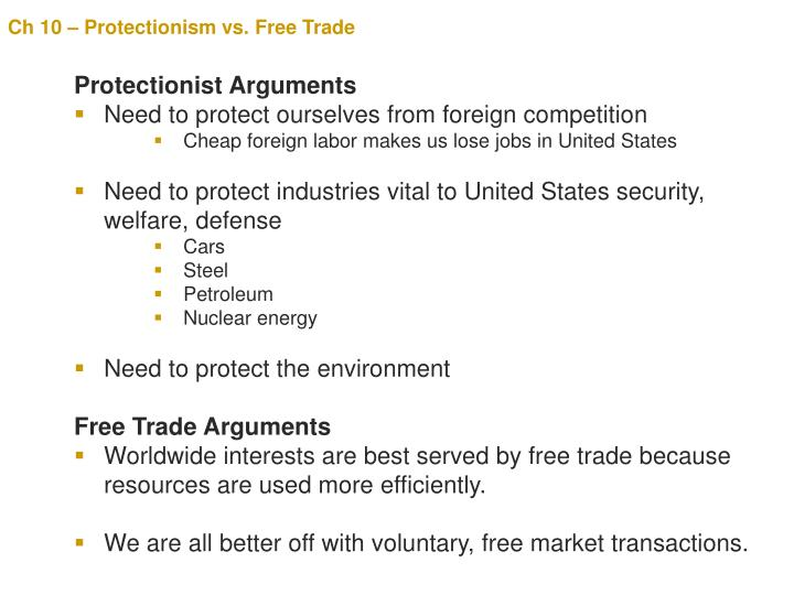 free trade vs protectionism essay Protectionism and free trade: a country's glory or doom regine adele ngono fouda 351 international journal of trade, economics and finance, vol 3, no 5, october.