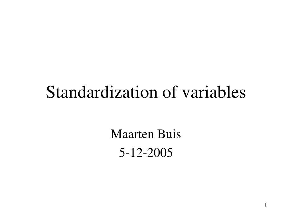 standardization of variables l.