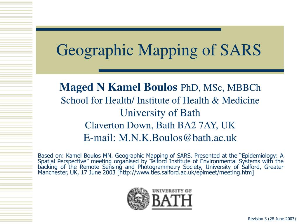 geographic mapping of sars l.