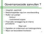 governancecode aanvullen