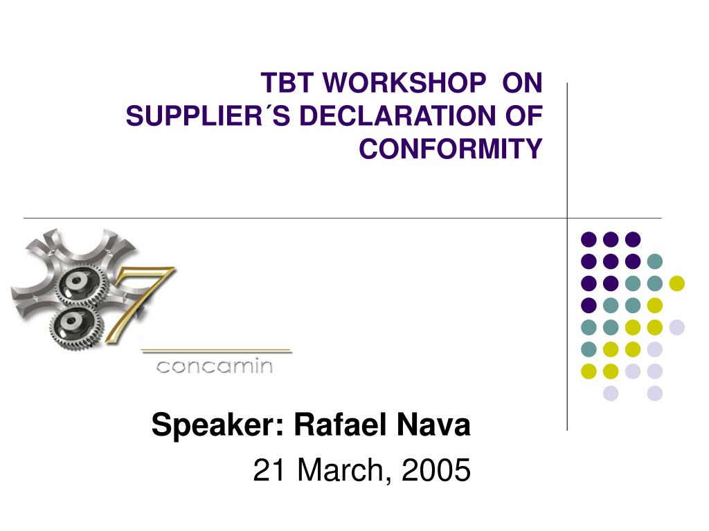 tbt workshop on supplier s declaration of conformity l.