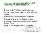 how can ministries facilitate ngo involvement participation
