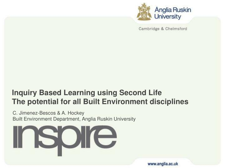 inquiry based learning using second life the potential for all built environment disciplines n.