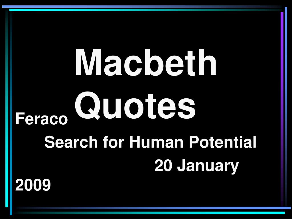 Macbeth Quotes | Ppt Macbeth Quotes Powerpoint Presentation Id 713380