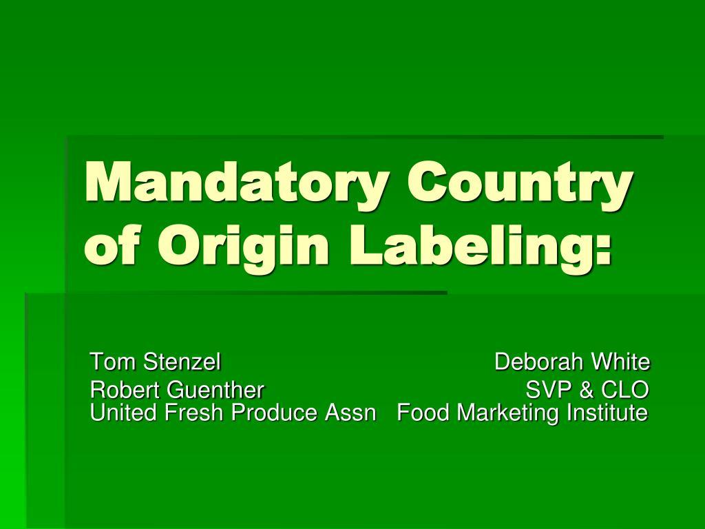 mandatory country of origin labeling l.