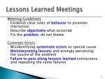 lessons learned meetings