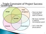 triple constraint of project success