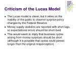 criticism of the lucas model