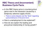 rbc theory and inconvenient business cycle facts