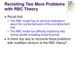revisiting two more problems with rbc theory